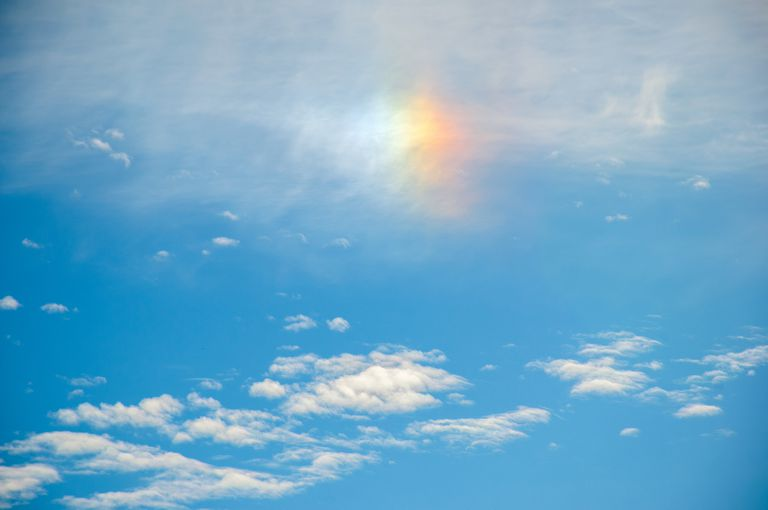 Iridescence in clouds in the sky