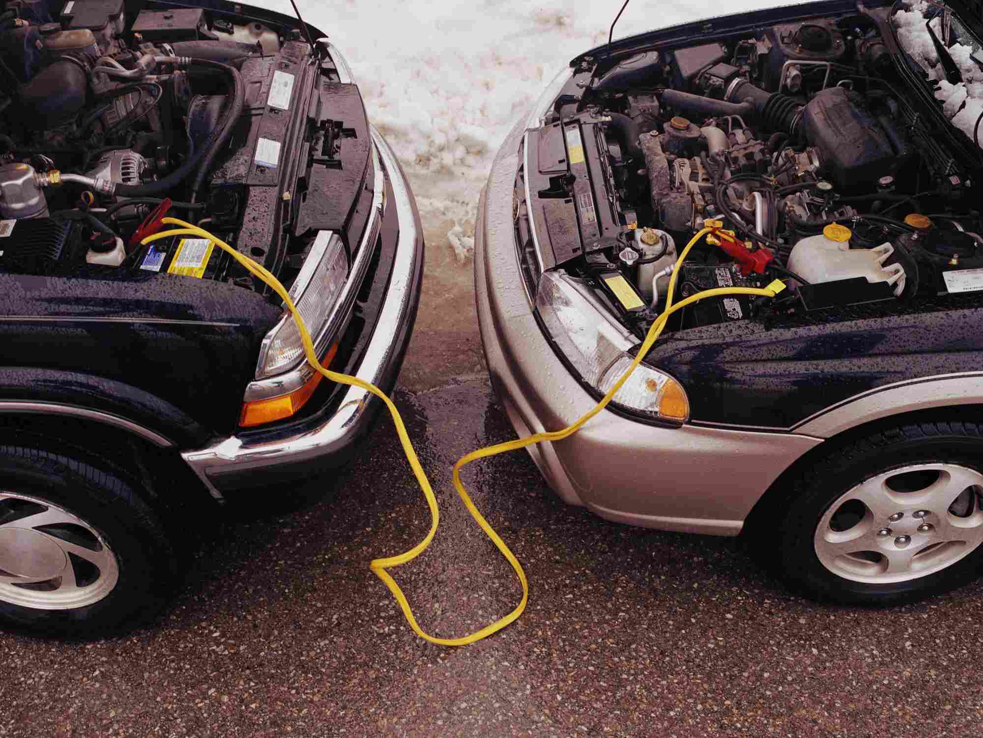 In Case Of A Dead Battery Two Vehicles And Jumper Cables Come Together To Get