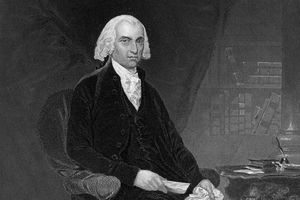 Engraved portrait of President James Madison