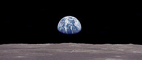 From the Moon, Earth is 4 times wider than the sun and about 50 times brighter than a full Moon.