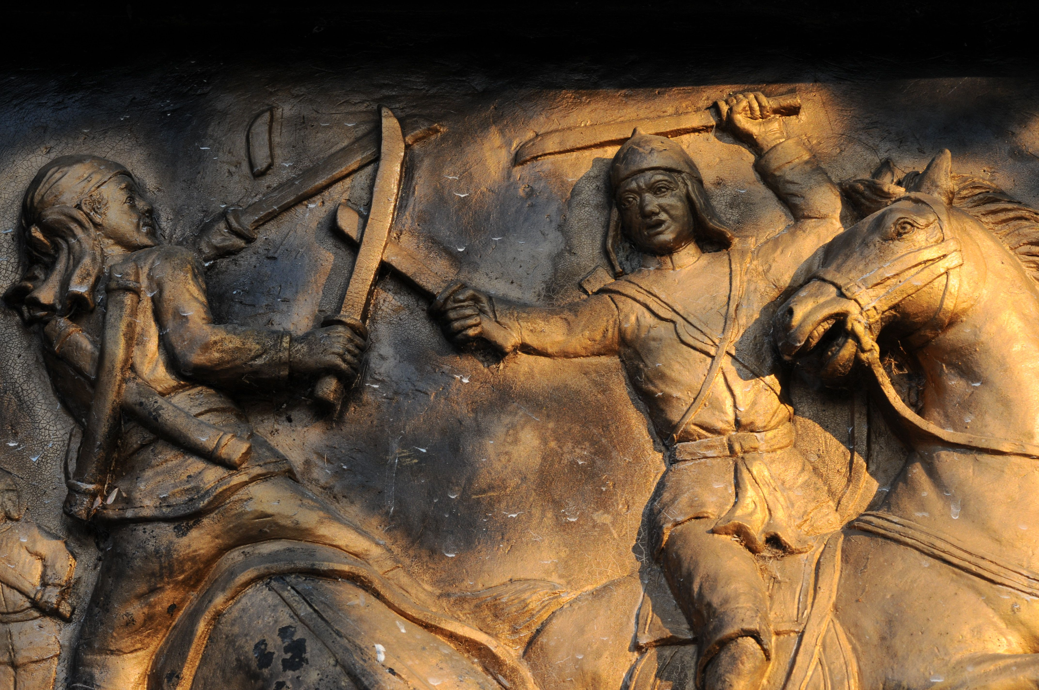 Bas Relief of Soldiers Fighting