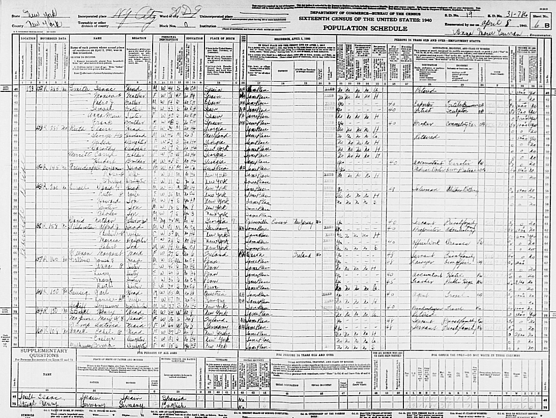 Babe Ruth in the 1940 Census appears with his wife, his mother-in-law, and other members of his wife's family.