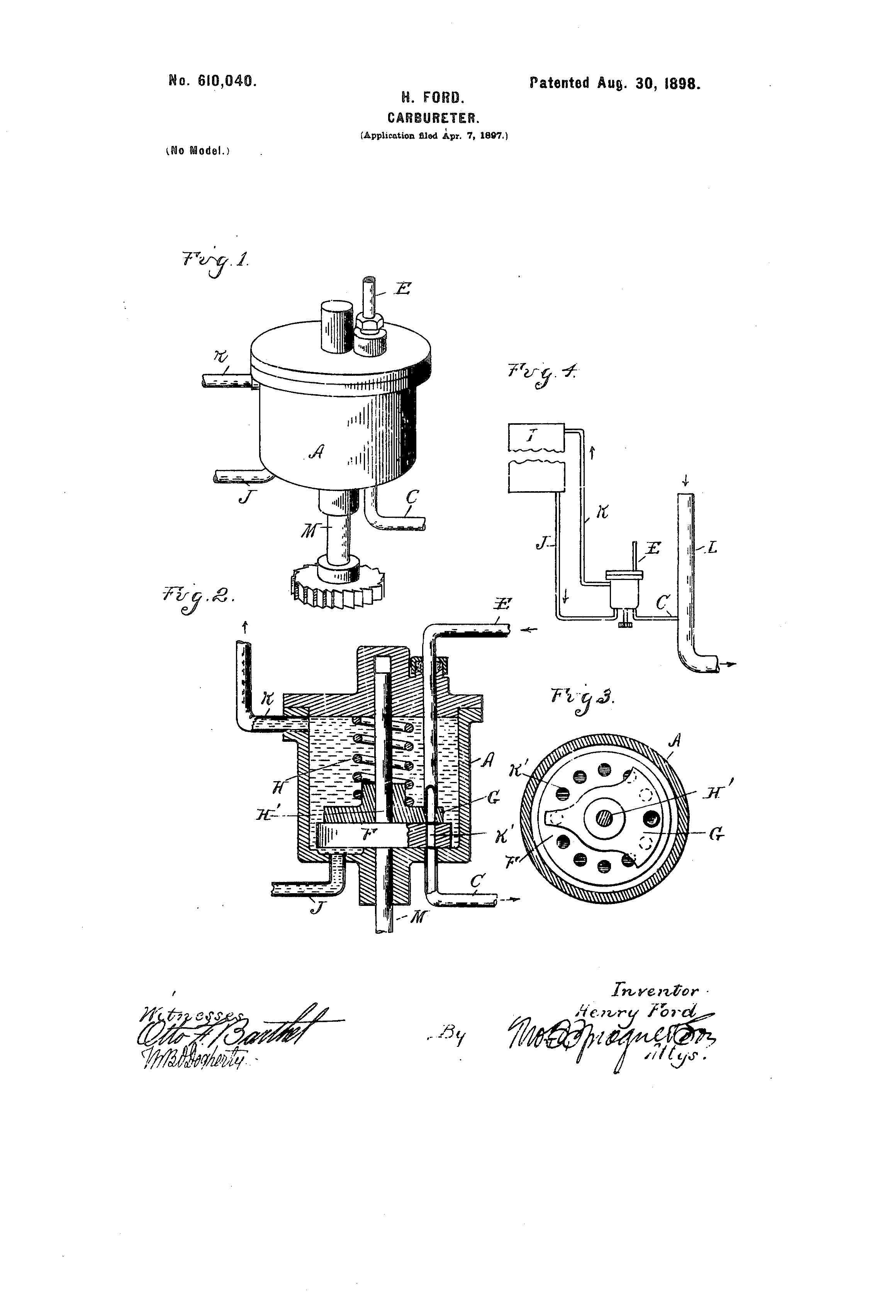 Henry Ford's 1897 patent for a carburetor.