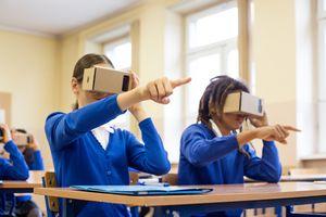 Students using virtual reality goggles