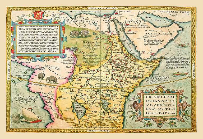 Circa 1602 Spanish map of Northeastern Africa
