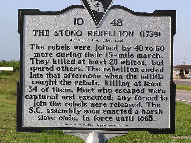 Site of Stono Rebellion, near Charleston, SC