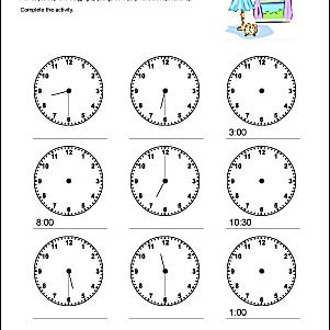 telling time practice worksheet