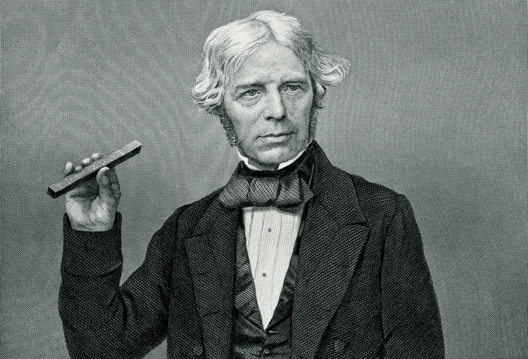 Engraved portrait of Michael Faraday