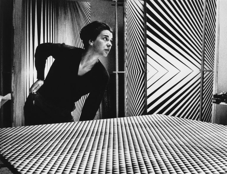 British Op Art painter Bridget Riley