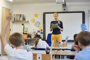 A teacher conducts a lesson
