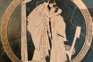 Attic kylix depicting a lover and a beloved kissing (5th century BC)