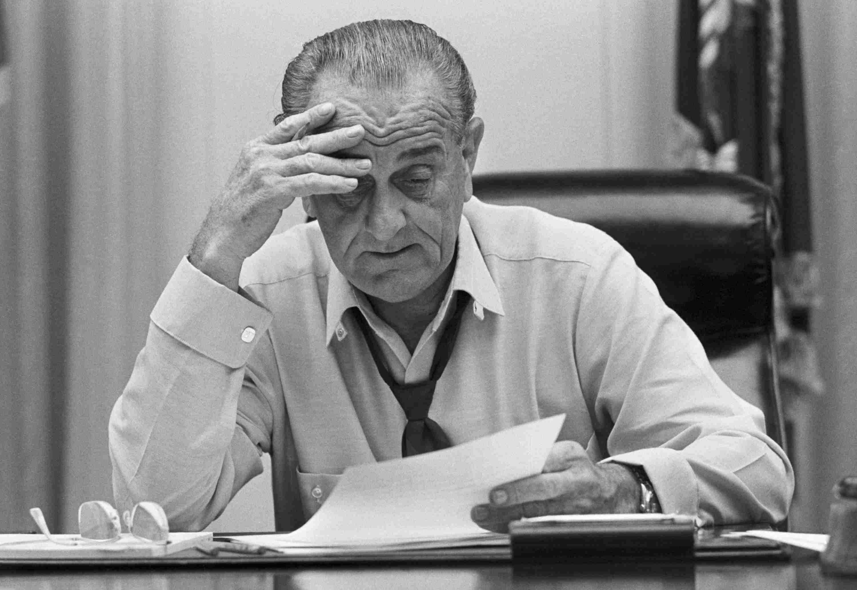 Photograph of Lyndon Johnson in 1968