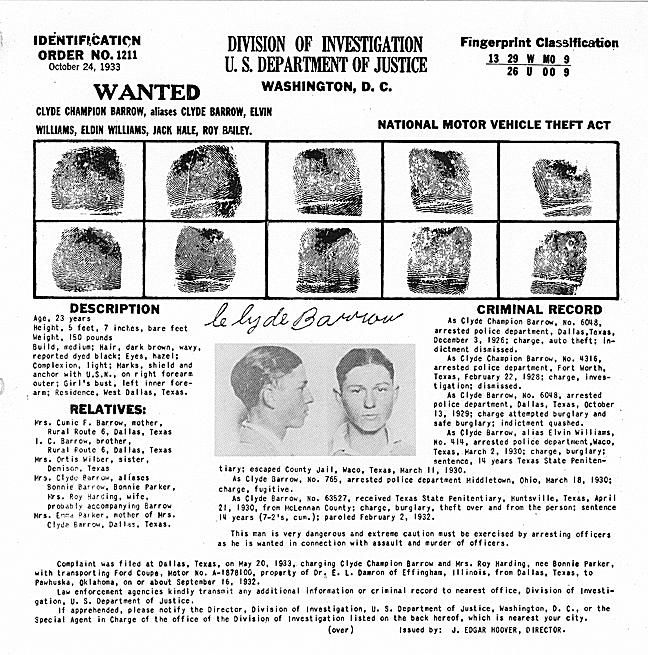 Clyde Barrow's wanted poster