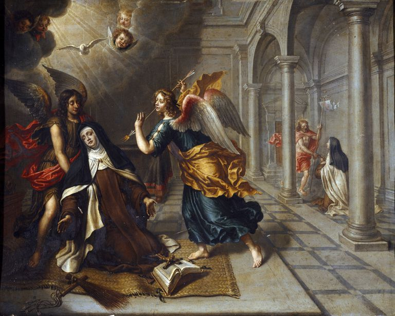 Painting of Saint Teresa of Avila being stabbed by an angel.