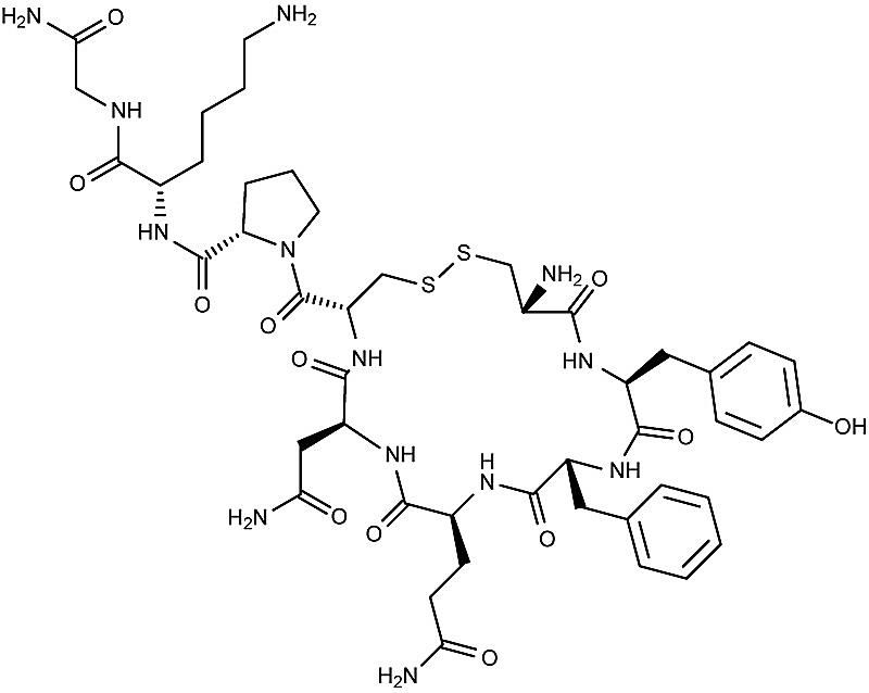 This is the chemical structure of vasopressin.