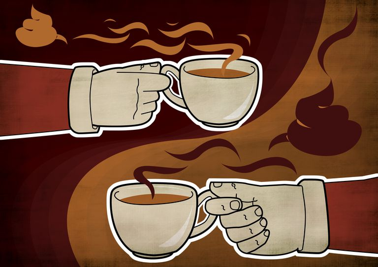 artwork of hands and coffee cups with steaming coffee