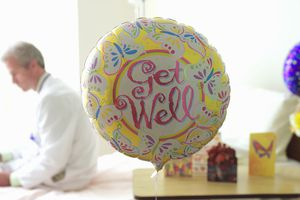 Get Well balloon in a hospital setting