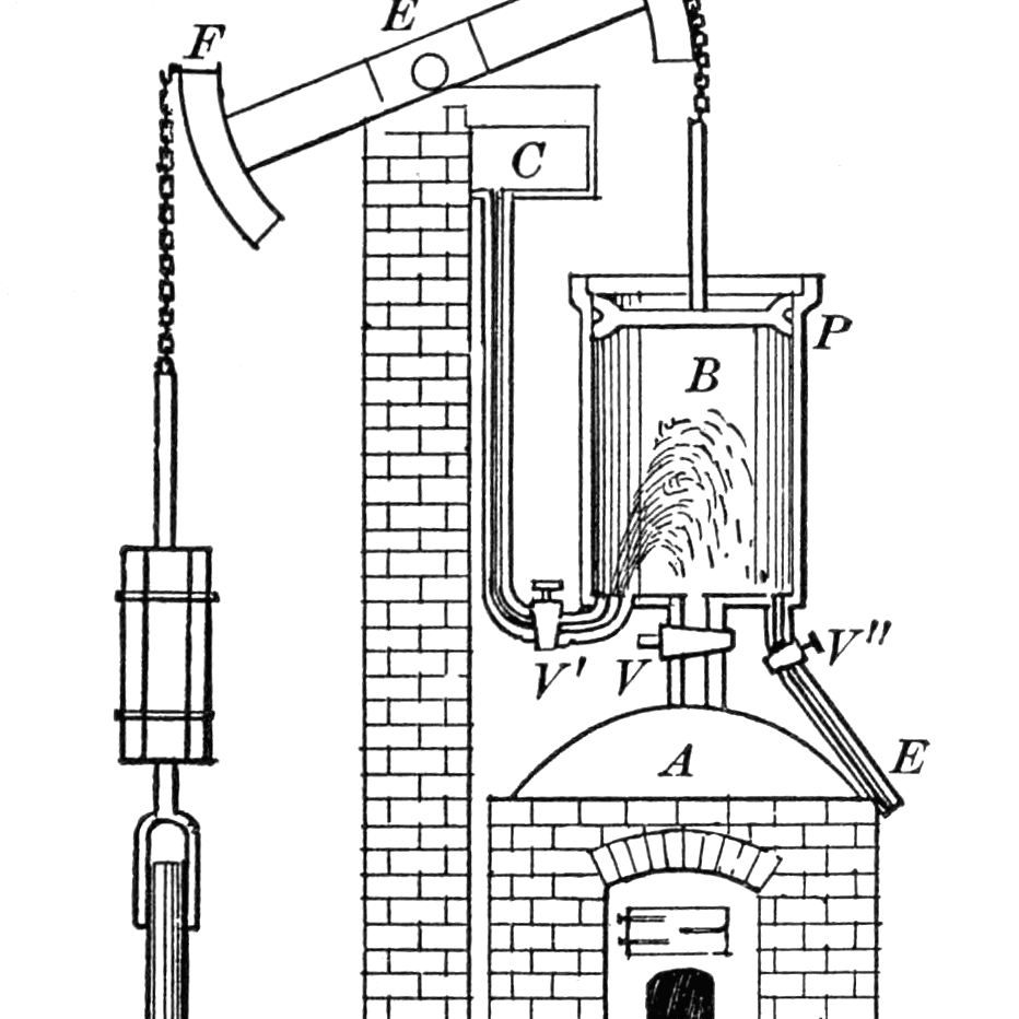 Drawing of the Newcomen steam engine
