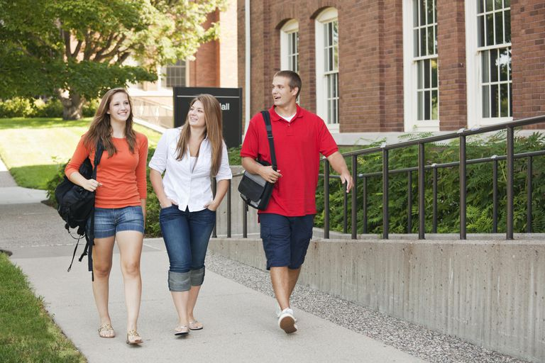 Group of College Students Walking Outdoors on University Campus