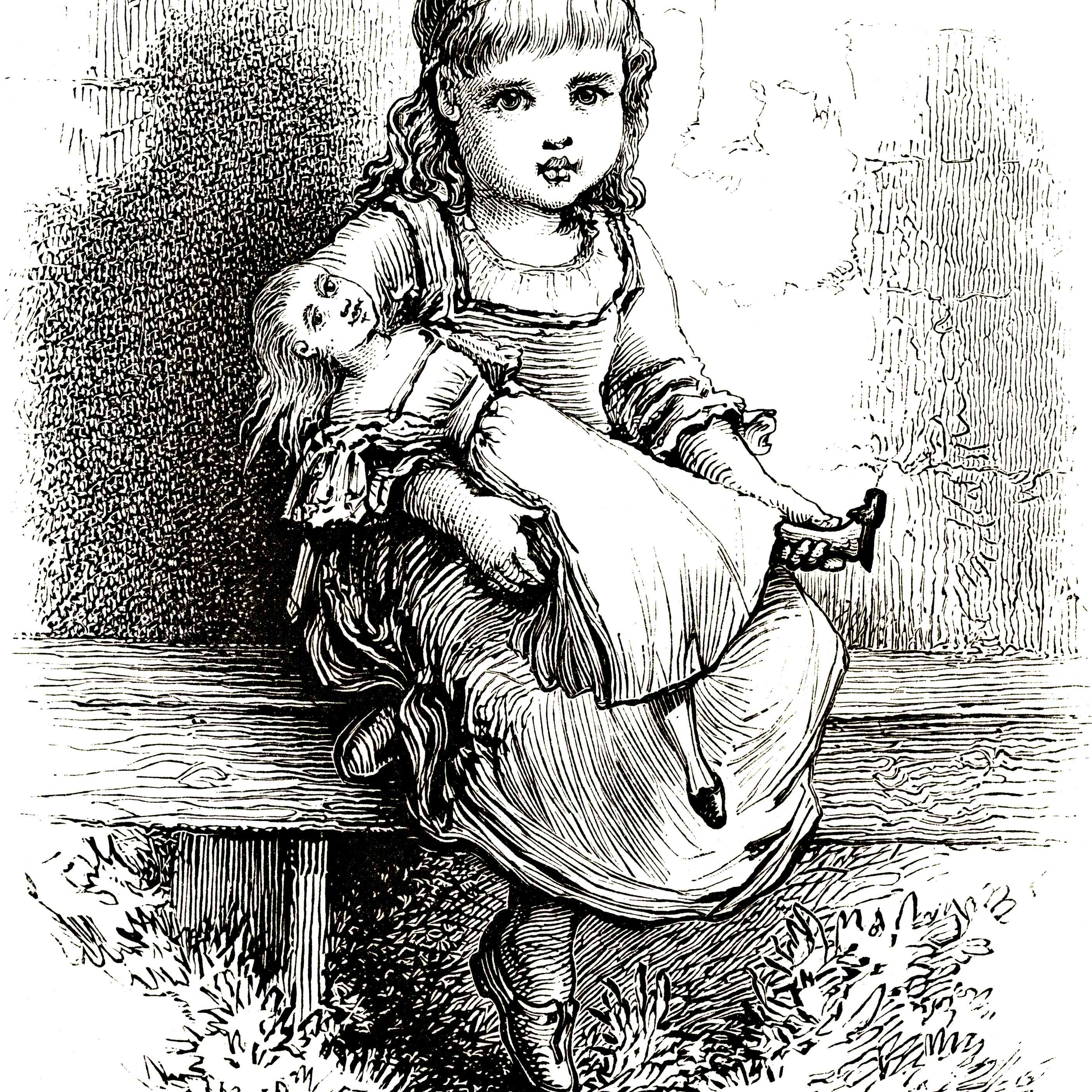 Little Girl with Doll - Victorian Steel Engraving