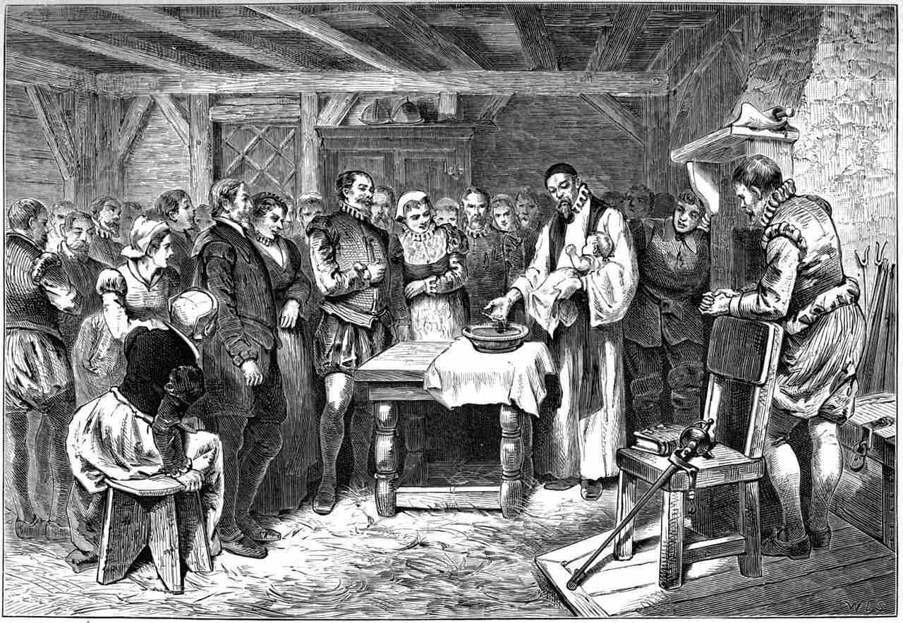 "Baptism of Virginia Dare,"" lithograph, 1876."