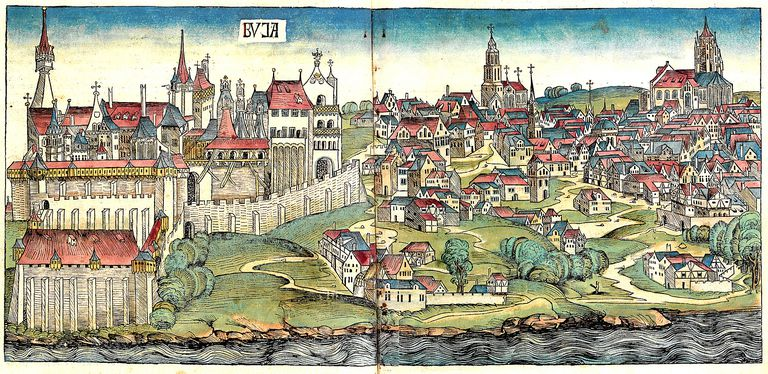 Illustration of Budapest during the Middle Ages