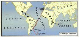 Map of Amerigo Vespucci's Journey to America