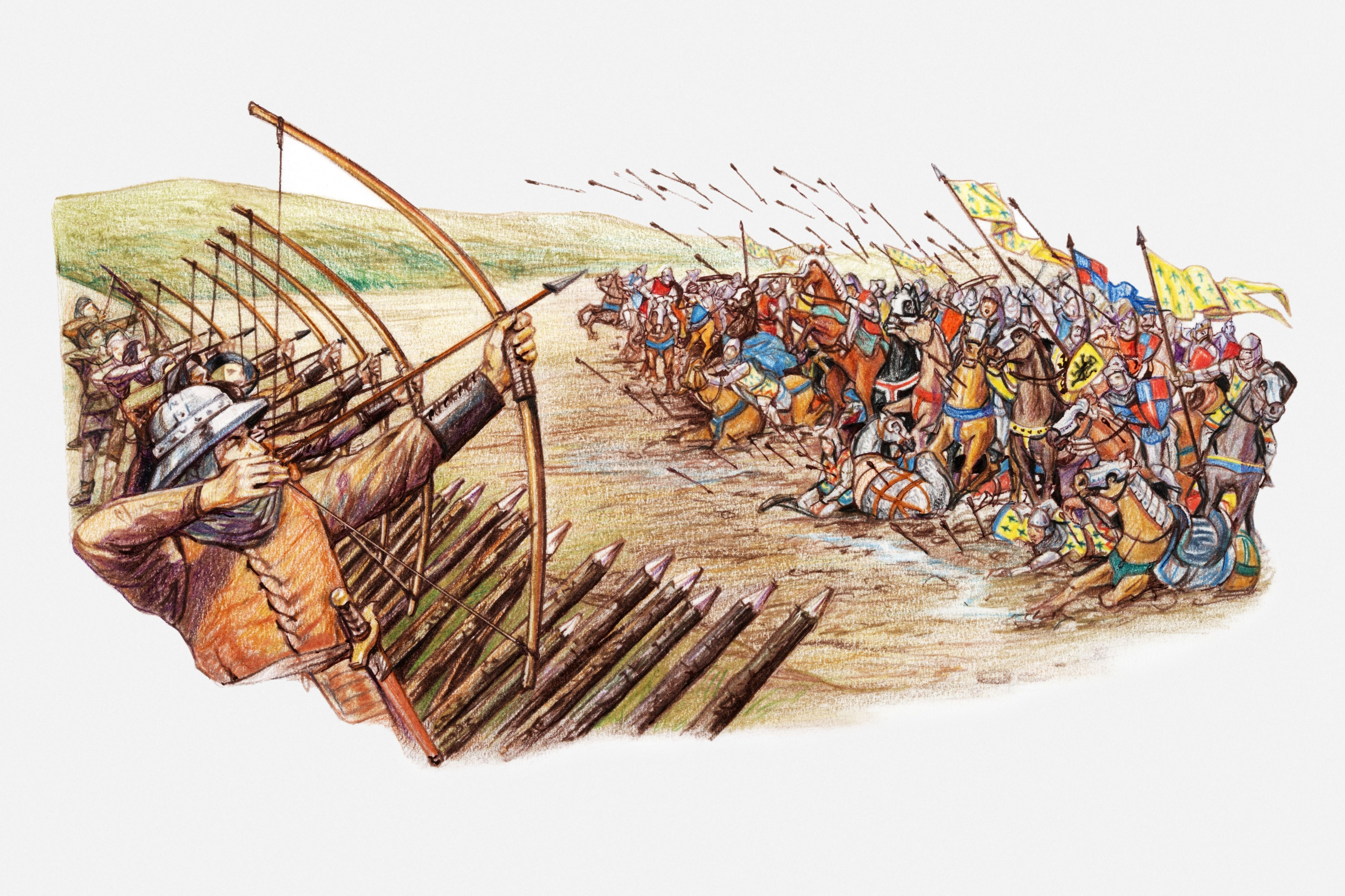 Illustration of English and Welsh archers using cross bows against attacking French army during Hundred Years War