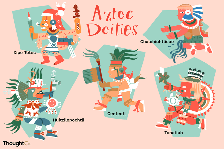 Aztec deities: Huitzilopochtli (Father of the Aztecs), Tonatiuh (God of the Sun), Centeotl (God of Maize), Chalchiuhtlicue (Goddess of Running Water), Xipe Totec (God of Fertility and Sacrifice)