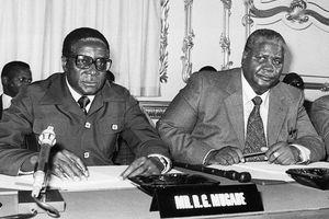 Robert Mugabe and Joshua Nkomo