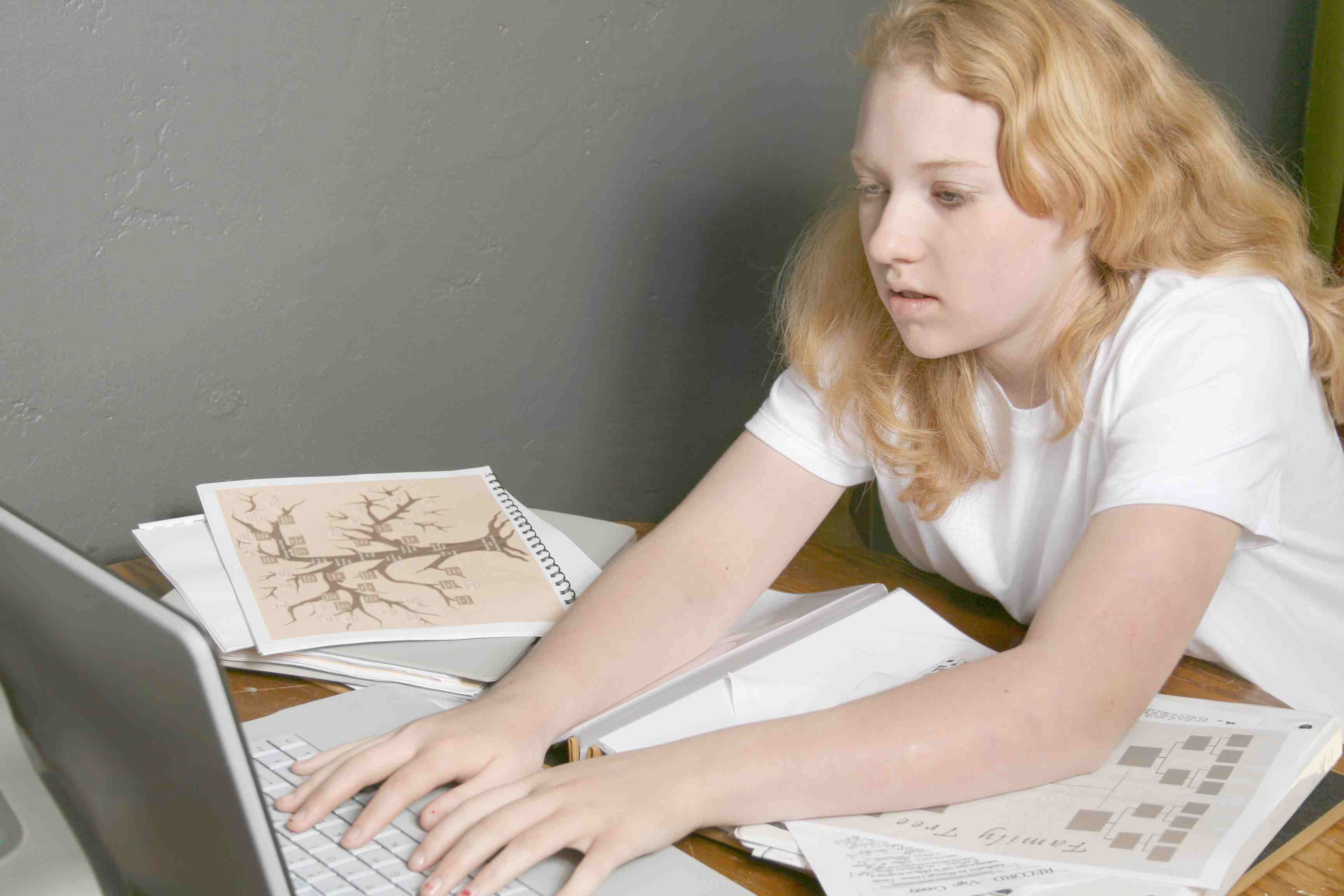 Studying genealogy with laptop computer