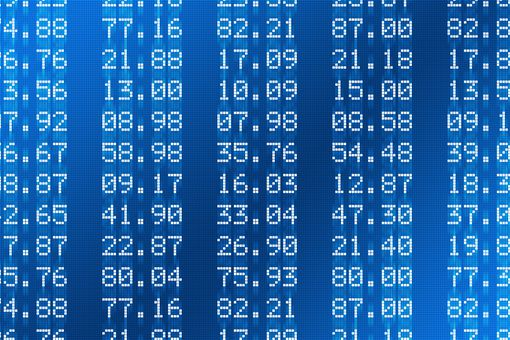 Financial figures in white with blue background