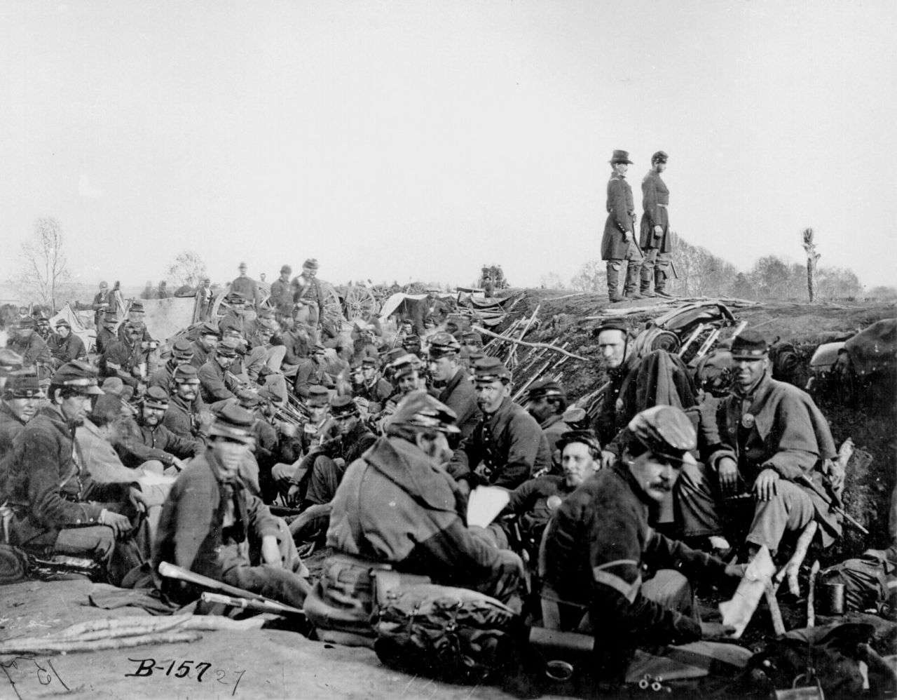 Soldiers in the trenches before battle, Petersburg, Virginia