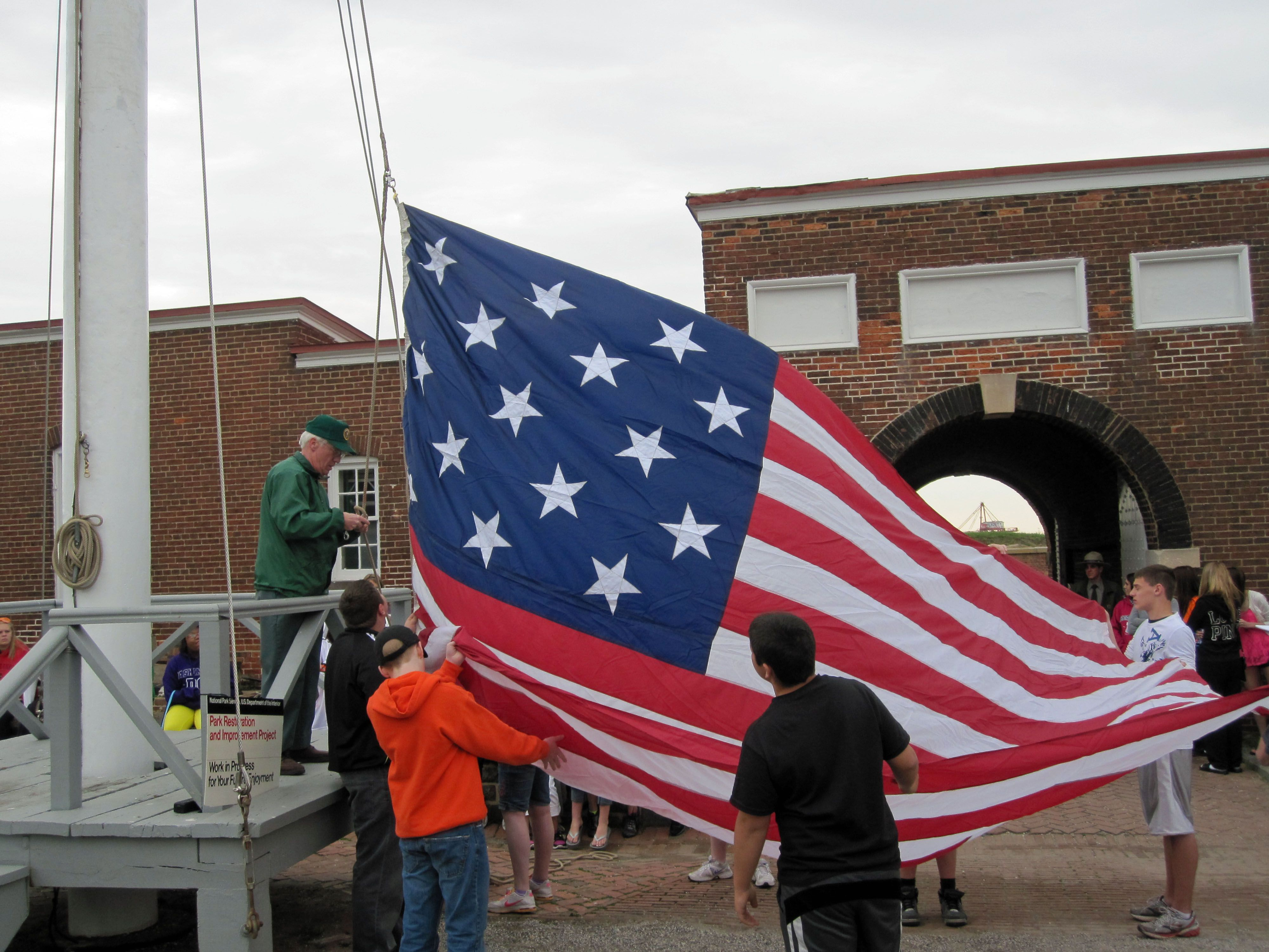 Raising the flag at Fort McHenry