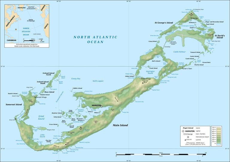Topographic map of Bermuda Islands