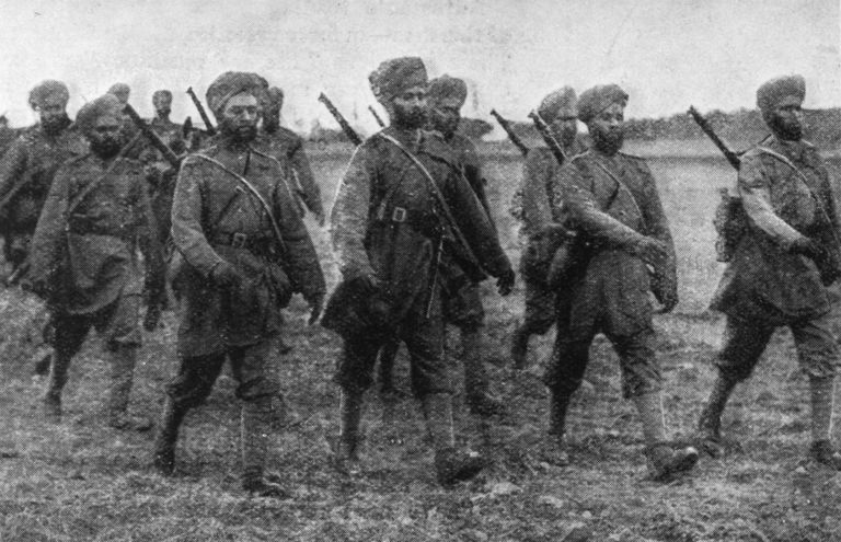 Sikh soldiers on the march in France at the start of World War I