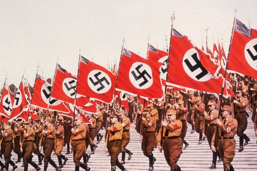 The entry of the colors, or Swastikas at the German National Socialist Party Day at Nuremberg, 1933