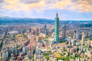 Aerial view of cityscape at Taipei center district, Taiwan