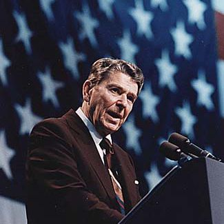 Picture of President Ronald Reagan speaking at a rally in 1986.