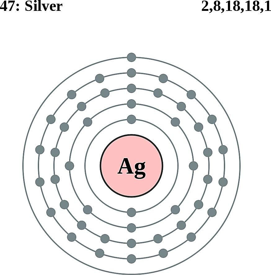 This diagram of a silver atom shows the electron shell.
