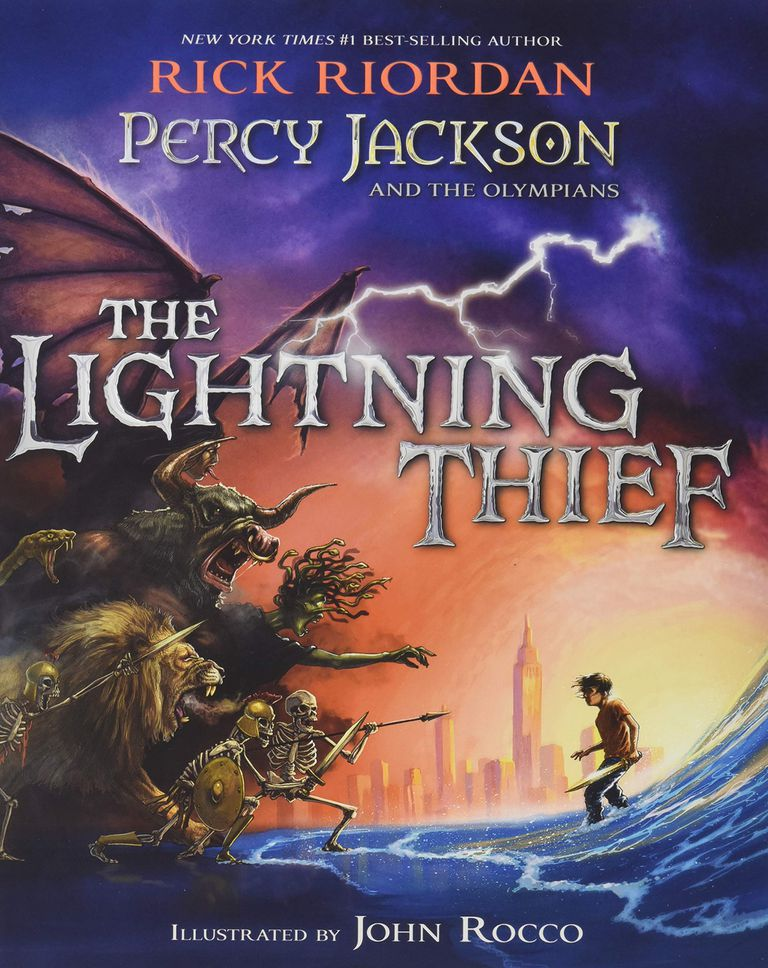 """The Lightning Thief"" by Rick Riordan illustrated edition book cover."