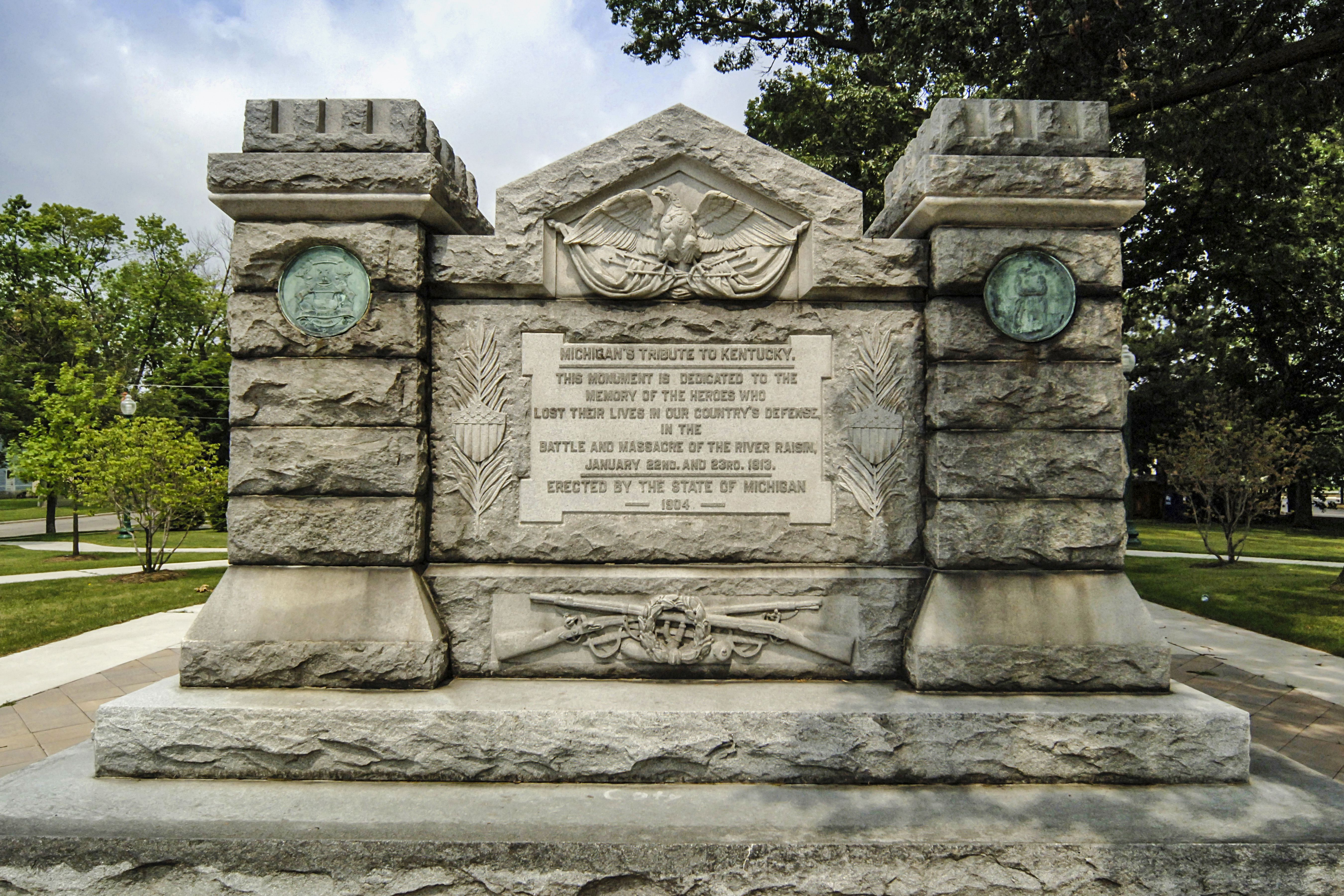 The Battle of River Raisin war memorial in Monroe, MI