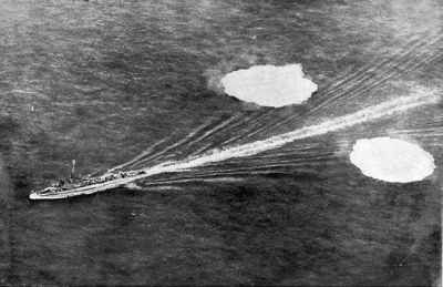 Allied destroyer dropping twin depth cha