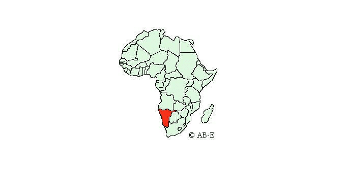 Namibia on map of Africa