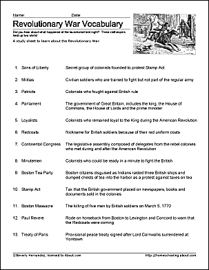 Revolutionary war printable wordsearch revolutionary war printable study sheet ibookread Read Online