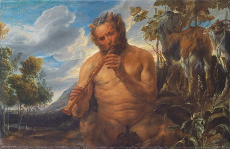 Painting of Satyr Playing the Pipe by Jordaens