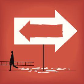 Illustration of arrows pointing opposite ways