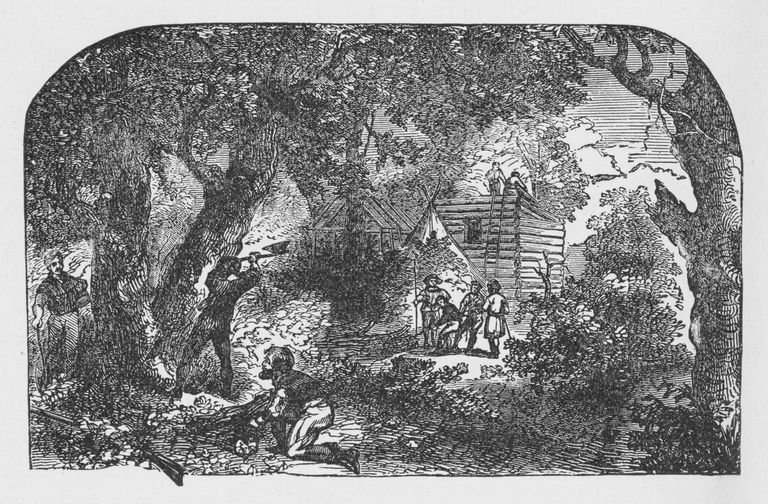 19th century illustration of settlers building Jamestown
