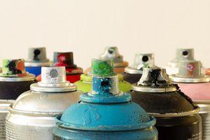 Range of aerosol cans used for graffiti macro