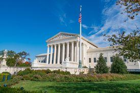 Color photo of the US Supreme Court building in Washington, D.C.